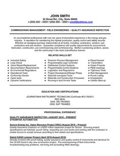 click here to download this quality assurance inspector resume template httpwww professional resume templatea professionaloilfield - Oil Field Engineer Sample Resume