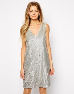 Vila V Neck Sequin Dress