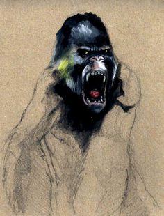Diseño Gráfico - Ilustración Gorila Crayón Monkey Illustration, Illustrations
