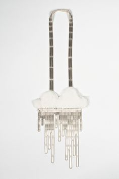 "Mallory Weston  Necklace: Rainy Day 2012  Nickel, Rabbit Fur, Leather, Thread  24""x9""x.5""  Photographer: Harry Gould Harvey"