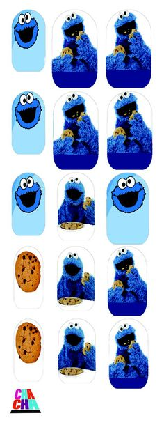 Monster Inc Nails, Cookie Monster Nails, Monsters Inc, Nail Decals, Cookies, Halloween, Vintage, Etsy, Ideas