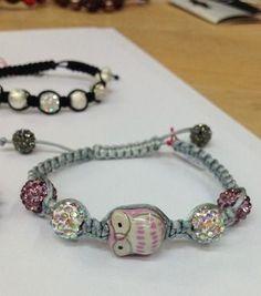 shamballa chouette / Owl shamballa bracelet !