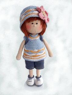 Crochet amigurumi doll pattern Crochet toy pattern PDF Crochet girl doll making Cute doll Gift for girl Sophie the Travel Blogger