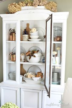 Autumn Country Style I Love This White Hutch Filled With All Kinds Of Treasures
