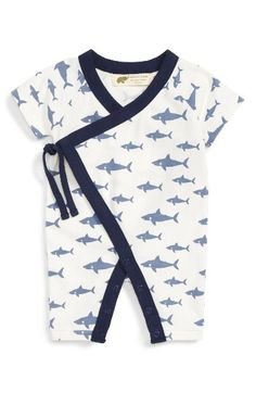 Monica + Andy Monica + Andy Shark Print Romper (Baby Boys) available at #Nordstrom