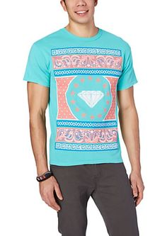 Coral/Light Green Paisley Tee