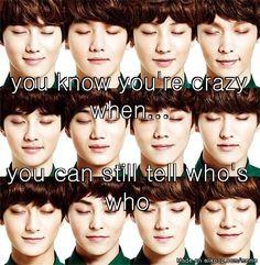 Suho, Baekhyun, Chanyeol, Lay, D.O., Kai, Luhan, Kris, Tao, Xiumin, Sehun, Chen. DEFINITELY CRAZY AND I DONT EVEN REGRET IT A LITTLE BIT!!! YEHET 😁😁😂😍✌🏻️✌🏻