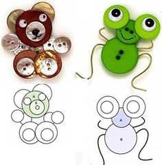 2 Button Art, Button Crafts, Big Animals, Flower Crafts, Book Illustration, Mason Jars, Projects To Try, Creations, Arts And Crafts