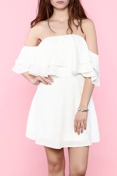 White off-shoulder ruffled mini dress.   Ruffle Mini Dress by essue. Clothing - Dresses - Casual Clothing - Dresses - Mini Clothing - Dresses - Off The Shoulder New Jersey