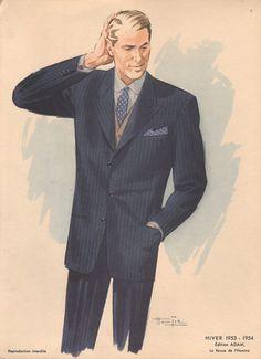 Vintage Fashion Print, Man in Suit, 1953