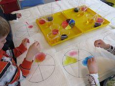 Watercolor wheels by Teach Preschool - cooperative open centers; Science Ideas, Science For Kids, Science Activities, Teach Preschool, Preschool Colors, School Art Projects, School Ideas, Teaching Tools, Teaching Ideas