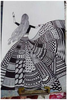 Intricate Geometric Zentangle Drawing #zentangle #drawings #zentangledrawings Cute Doodle Art, Doodle Art Designs, Doodle Art Drawing, Zentangle Drawings, Designs To Draw, Mandala Art Designs, Doodle Art Simple, Doodling Art, Doodles Zentangles