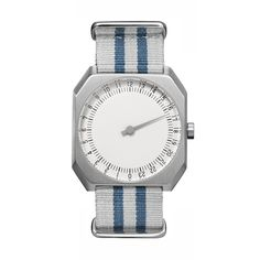 slow Jo 26 - Silver Swiss watch with stainless steel case and grey/blue nylon band