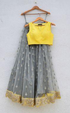 Grey Silver Zardosi Embroidered Lehenga With Yellow Blouse And Yellow Dupatta-Anisha Shetty-Fabilicious Fashion Lehenga Designs, Saree Blouse Designs, Dress Designs, Indian Wedding Outfits, Indian Outfits, Indian Clothes, Indian Lehenga, Lehenga Choli, Floral Lehenga