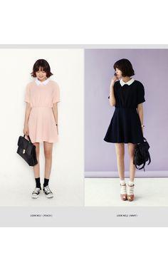 ホワイトカラーAラインワンピース・全2色ドレス・ワンピドレス・ワンピ|レディースファッション通販 DHOLICディーホリック [ファストファッション 水着 ワンピース]