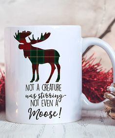 Look at this #zulilyfind! Plaid Moose 'Not a Creature Was Stirring' Mug by Hey Shabby Me #zulilyfinds