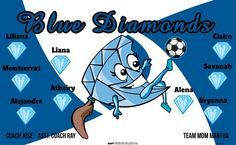 Blue Diamonds B54819  digitally printed vinyl soccer sports team banner. Made in the USA and shipped fast by BannersUSA.  You can easily create a similar banner using our Live Designer where you can manipulate ALL of the elements of ANY template.  You can change colors, add/change/remove text and graphics and resize the elements of your design, making it completely your own creation.
