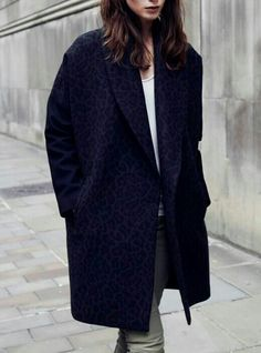 Deepest blue patterned oversized coat. | More outfits like this on the Stylekick app Download at http://app.stylekick.com