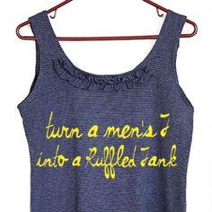 Men's T-Shirt Turned Ruffled Tank Top DIY Tutorial - Things To Do Yourself - DIY