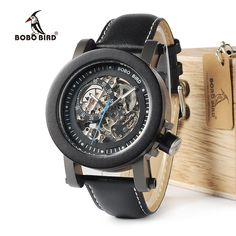 BOBO BIRD WK10 Ebony Wood Mens Watches Vintage Bronze Skeleton Male Antique  Steampunk Casual Automatic Montre 89c96e323ae7