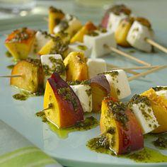 Mozzarella and Nectarine Skewers With Pesto   MyRecipes.com