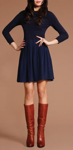 Blue sweater dress and boots — perfect look for the Grove this fall!