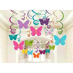 Amscan 670405 Spring Butterfly Party Hanging Swirl Decorations (Pack of Butterfly Birthday Party, Butterfly Baby Shower, Butterfly Decorations, Birthday Decorations, Spring Decorations, Decoration Creche, Open A Party, Spring Party, Spring Crafts