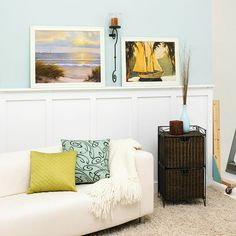 Dress up walls with molding. Use molding to add interest to a room. Add crown molding at chair-rail height and add thin pieces of molding vertically below it. Paint the chair rail and wall below it the same color as the room's wall....