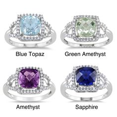 Miadora 10k White Gold Gemstone and 1/5ct TDW Diamond Ring (G-H, I1-I2) (Green Amethyst Size 9), Women's