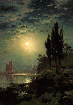 """🎨 Edward Moran (August 1829 in Bolton, Lancashire, England – June 1901 in New York City) Moonlight sonata"" Fantasy Landscape, Landscape Art, Landscape Paintings, Nocturne, Edward Moran, Moonlight Painting, Moonlight Sonata, Hudson River School, Historical Art"