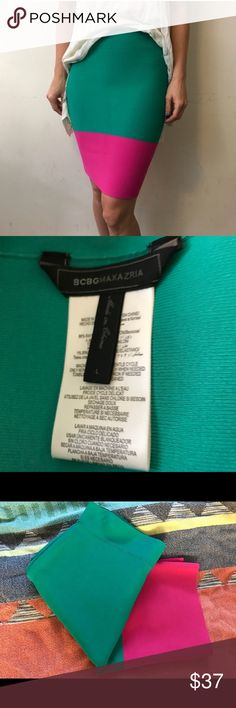 BCBG MAXAZRIA Skirt Pink and turquoise bandage skirt. Size large. Worn only once. BCBGMaxAzria Skirts