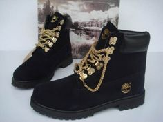 Women's Black and Gold Timberland Boots. Swag. Dope. Urban Fashion. Hip Hop Fashion. Hip Hop Style