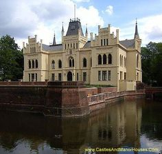 The Evenburg, Loga (or Leer), Lower Saxony, Germany....    http://www.castlesandmanorhouses.com/photos.htm  ...    The Evenburg is a water castle not far from the River Leda. In 1861/62, the building was rebuilt in the Neo-Gothic style.  After recent extensive renovation work the Evenburg is now home to various institutions including the Education Academy of East Frisia and a college for grammar school teachers.