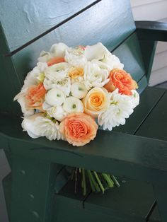 white wedding flowers in november on ... And White Wedding Flowers » white, peach and yellow bridal bouquet