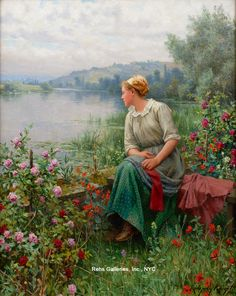 View Maria by the River by Daniel Ridgway Knight on artnet. Browse upcoming and past auction lots by Daniel Ridgway Knight. Image Painting, Painting On Wood, Romantic Paintings, Knight Art, Floral Theme, Art Themes, Global Art, Art Market, American Artists