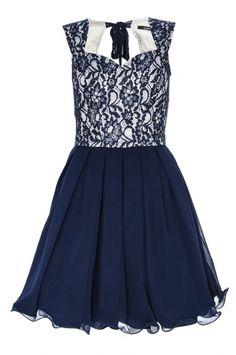 Navy Lace Chiffon Prom Dress