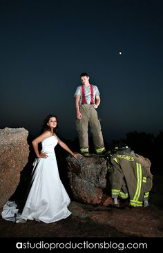 Bride and her firefighter husband, Firefighter, wedding photography  www.astudioproductionsblog.com
