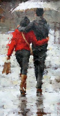 Autumn obviously. Rain, umbrella, happy couple. Andre Kohn - painting, period I.