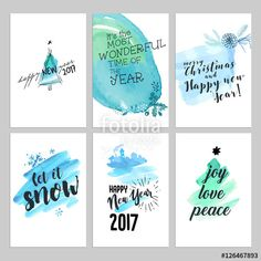 Vektor: Christmas and New Year hand drawn greeting cards set. Watercolor vector illustrations for greeting cards, website and mobile banners, marketing material.