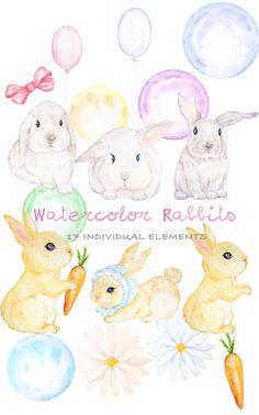 Cute Digital Watercolor Rabbit Clipart Hand Drawn Bunny