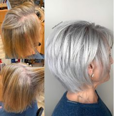 This gorgeous client came to me from Northern California seeking silver hair to match her roots. I lightened the whole head in foils just… Short Hairstyles For Women, Short Hair Cuts For Women, Short Hair Styles, Medium Hair Styles, Layered Haircuts For Women, Straight Hairstyles, Grey Hair Styles, Scene Hairstyles, Short Silver Hair