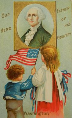Vintage 4th of July card with George Washington and children