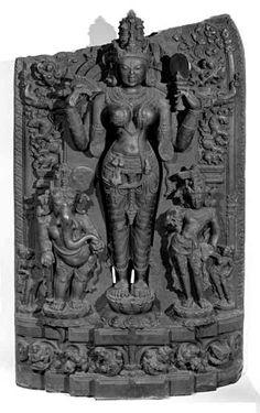 Durga with Ganesh & Karttikeya, black stone, 36 in. H. British Museum, London