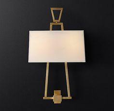 RH Modern's Marcel Sconce:With a tapered brass base and rectangular fabric shade, our collection is a revelation of minimalist form. Modern Sconces, Mirror Door, All Wall, Fabric Shades, My Dream Home, Wall Sconces, Light Fixtures, Wall Lighting, Table Lamp