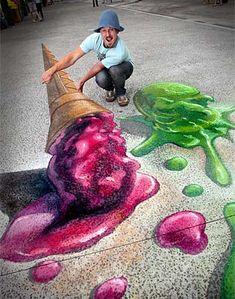 Rudy Kistler 3D pavement art: Ice Cream Sidewalk art #SidewalkArt #Waterpark