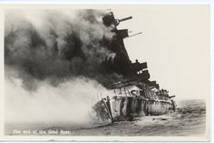 The sinking of the Graf Spee, the casulity of the first major naval battle of the Second World War at the Battle of the River Plate in 1939. The Graf Spee had been hunted down my three Royal Navy cruisers: HMS Exeter, Ajax and Achilles off the coast of Argentina and Uruguay in South America.