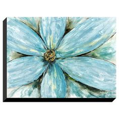 Picture of 30 x 40 Turquoise Flower on Textured Canvas