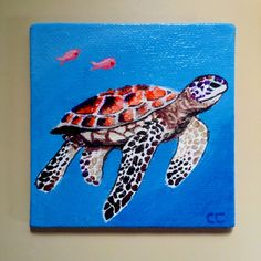 Sea Turtle original miniature painting,  4x4 acrylic square mini canvas panel, sea life art by cculpWorks on Etsy https://www.etsy.com/listing/232277192/sea-turtle-original-miniature-painting