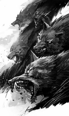savage wolf pack art illustration, black and white, solta os cachorros ! savage wolf pack art illustration, black and white, solta os cachorros ! Dark Fantasy Art, Dark Art, Werewolf Art, Mythical Creatures, Amazing Art, Awesome, Cool Art, Concept Art, Art Drawings