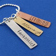 Doctor Who - The Doctor's Phrases Necklace - Fantastic! Allons-y! Geronimo! - Spiffing Jewelry